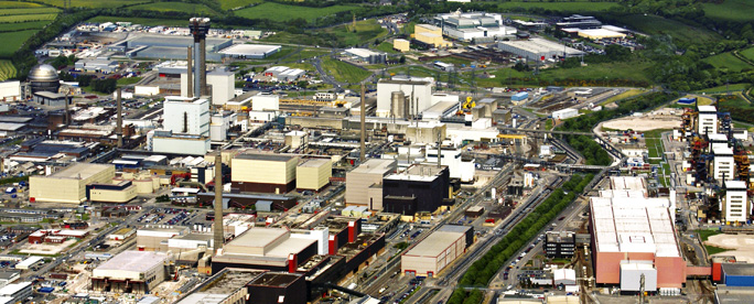 Aerial photo of Sellafield plant